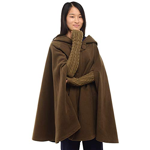 GRACEART Women's Hoodie Woolen Cape Cloak Short Dark Khaki
