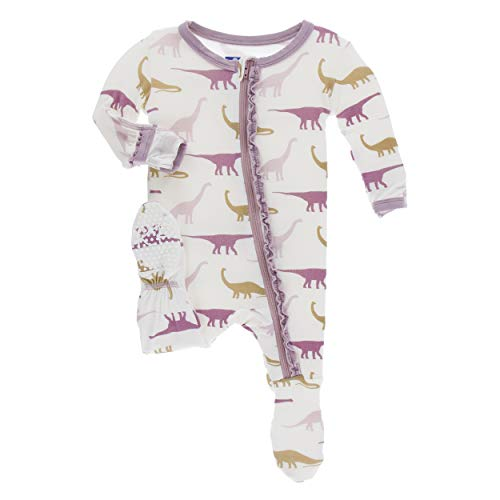 Kickee Pants Little Girls Print Muffin Ruffle Footie with Zipper - Natural Sauropods, Newborn