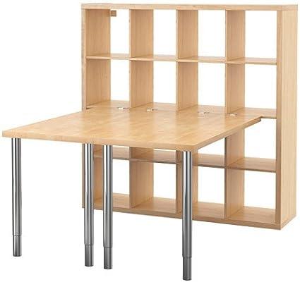 IKEA KALLAX - combinación de escritorio, efecto abedul - 147 x 147 ...