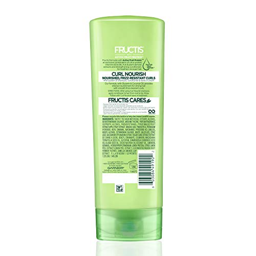 a21f3bc40434 Garnier Fructis Curl Nourish Paraben-free Conditioner Infused with Coconut  Oil and Glycerin, System for 24 Hour Frizz-Resistant Curls, 12 fl. oz., ...