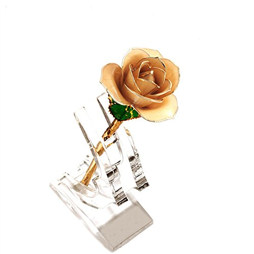 YSBER 24k Gold Real Rose Flower Eternal Golden Plated Rose with Clear Display Stand in Gift Box Best Romantic Loving Gift for Wife,Girlfriend,Birthday,Mother's Day,Wedding Anniversary