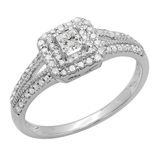 (Dazzlingrock Collection 0.50 Carat (ctw) 14K Princess & Round Diamond Split Shank Bridal Halo Ring 1/2 CT, White Gold, Size 5)