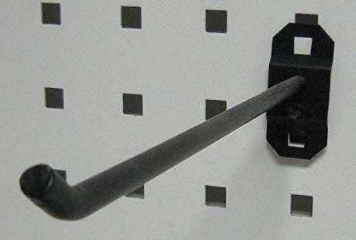 Steel Single Rod Pegboard Hook, Screw In Mounting Type, Black pack of 5