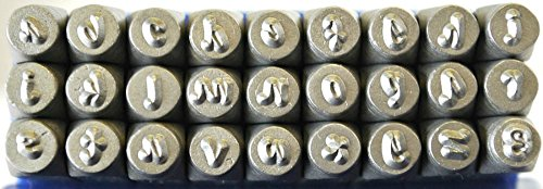 3mm Posh Font Alphabet Punch Metal Letter Jewelry Stamp Set, 27 Pieces including &, Lowercase Set