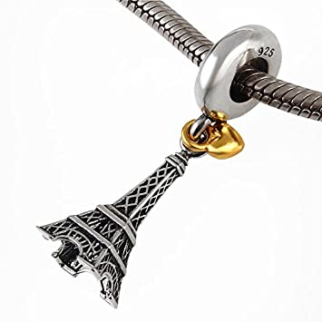 4dc29bb32 Image Unavailable. Image not available for. Color: The Paris Eiffel Tower  Charm with Golden Heart 925 Sterling Silver ...