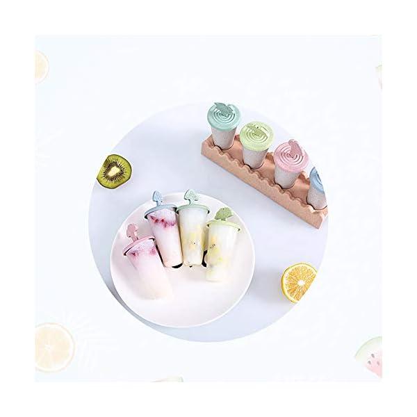 Maojie - Stampo per gelato fai da te, con 4 scomparti, con vassoio 4 spesavip