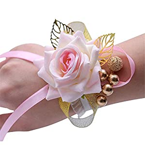 MOJUN Golden Leaves Berries Rose Hand Corsage Silk Wedding Wrist Flower Christmas Prom Party Wedding 21