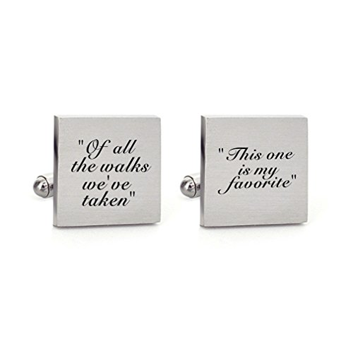MUEEU Father of The Bride Wedding Cufflinks Engraved of All The Walks We Have Take Square Cuff -