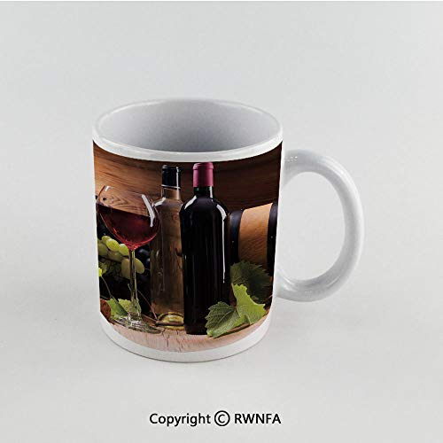 11oz Unique Present Mother Day Personalized Gifts Coffee Mug Tea Cup White Wine,Glasses of Red and White Wine Served with Grapes French Gourmet Tasting Decorative,Brown Ruby Light Green Funny Ceramic ()