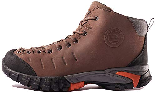 CAMEL CROWN Mens Mid Hiking Boots Water Resistant Leather Hiking Shoes for Outdoor Walking Trekking Khaki ()