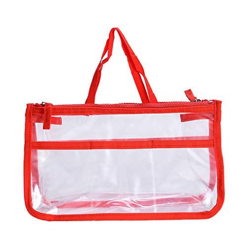 Dainzuy Clear Purse, Womens Clear Purse PVC Handbags Zipper Chain Shoulder Bags Business Travel Portable Cosmetics Storage Red (Handbag Handmade Accent Indian)