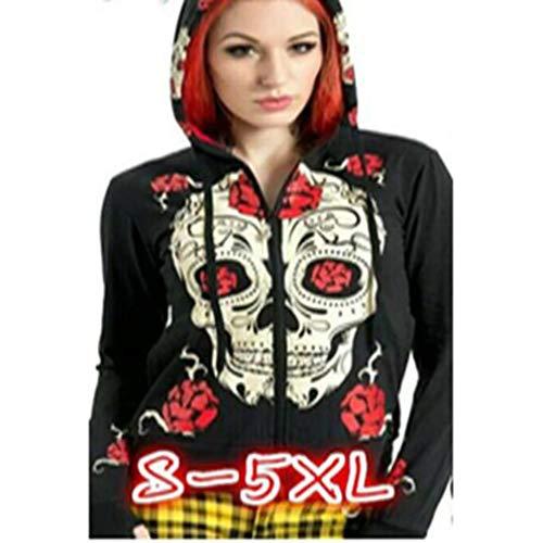 Zipper Cappotto Cappuccio Donna Felpa Wings Skull Hoodie Gotico Print Causal Allentata E qXxn7wffd