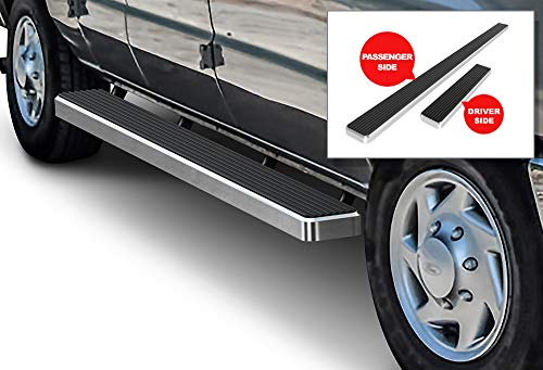 APS iBoard Running Boards (Nerf Bars | Side Steps | Step Bars) for 1999-2014 Ford Econoline Full Size Van | (Silver Powder Coated 6 inches)