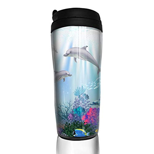 VIMMUCIR Coffee Mug Underwater World with Dolphins Curve Traveler Water Bottles Double Wall Thermos Coffee Cup for Man