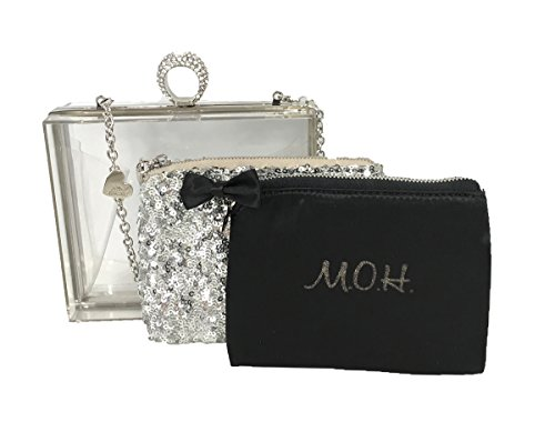Betsey Johnson Maid Of Honor Lucite Clutch & Cosmetic Set,Silver by Betsey Johnson