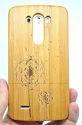 LG G3 Wood Case - Bamboo Dandelion - Premium Quality Natural Wooden Case for your Smartphone and Tablet - by (Real Wood Cover For Lg G3)
