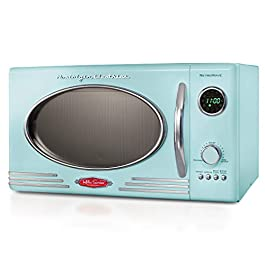 Nostalgia RMO4AQ Retro Large 0.9 cu ft, 800-Watt Countertop Microwave Oven, 12 Pre-Programmed Cookin Digital Clock, Easy…