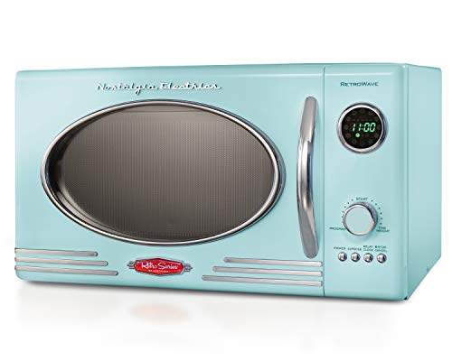 Nostalgia RMO4AQ Retro Large 0.9 cu ft, 800-Watt Countertop Microwave Oven, 12 Pre-Programmed Cookin Digital Clock, Easy Clean Interior, Aqua,