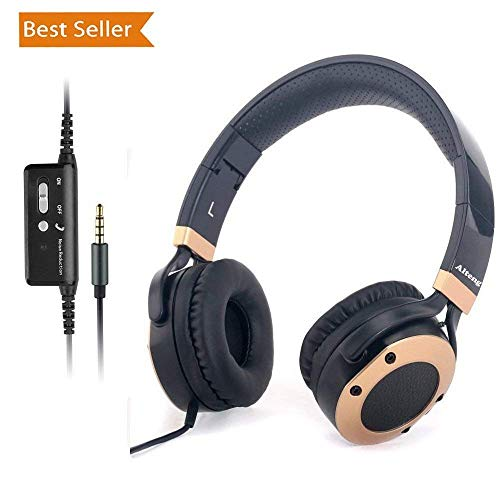 - Active Noise Cancelling Headphones with Microphone and Airplane Adapter, Alteng J19 Folding and Lightweight Travel Headsets, Hi-Fi Deep Bass Wired Headphones with Carrying Case - Black