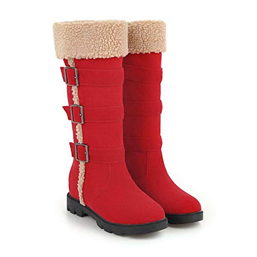 Woman Winter Shoes Mid Warm Plush Lining Sewing 2019New Rubber Sole Buckle Botines R5,Red,40