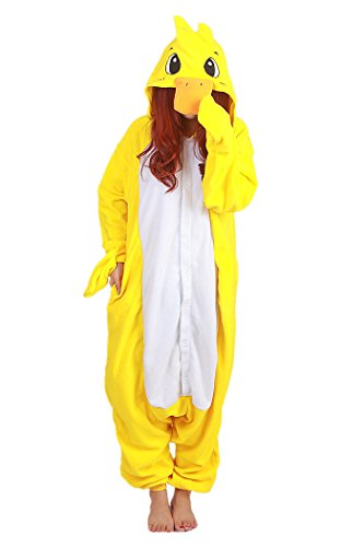 WOTOGOLD Animal Cosplay Costume Duck Unisex Adult Pajamas ,Small,Yellow