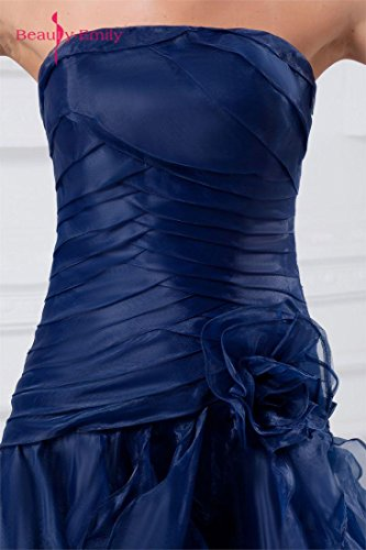 Beauty-Emily Maxi Tulle Sleeveless Ruching Pleat Flower Zipper Christmas Gifts Night Evening Dresses Color Dark Blue,Size US20W by Beauty-Emily (Image #6)