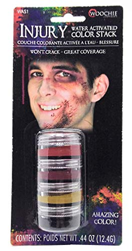 Woochie Water Activated Makeup Stack - Professional Quality Halloween and Costume Makeup - Injury