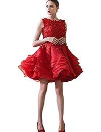 Womenu0027s Beaded Lace Puffy Organza Short Wedding Dress