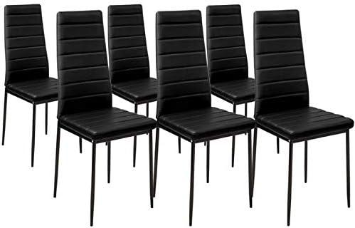 6 Lot de chaises Manger Romane Noires IDMarket à Salle pour 7ygbf6
