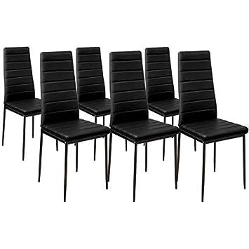 Idmarket Lot De 6 Chaises Romane Noires Pour Salle A Manger