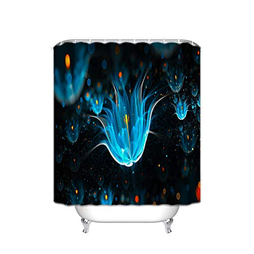 Shower Blue Flower Giraffe (Abstract X-Ray Flower Blue Yellow Circle Lotus Pool Black Shadow Fabric Shower Curtain, Waterproof Polyester Bathroom Curtain With 12 Hooks, Mildew Resistant, 48 X 72 Inch)
