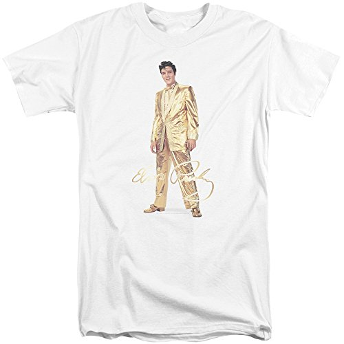 Elvis Gold Lame Suit Mens Big and Tall Shirt White (Gold Lame Elvis)