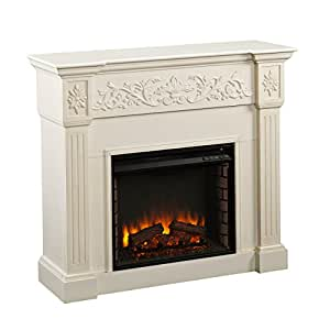 Calvert Carved Electric Fireplace - Ivory