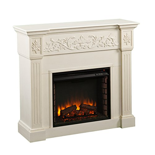 Southern Enterprises Calvert Carved Electric Fireplace, Ivory Finish with Brushed Texture (Wood White Electric Fireplace)