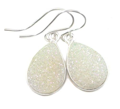 - Sterling Silver Drusy Earrings White Druzy Teardrop Silvertone Bezel Set Simple Drops