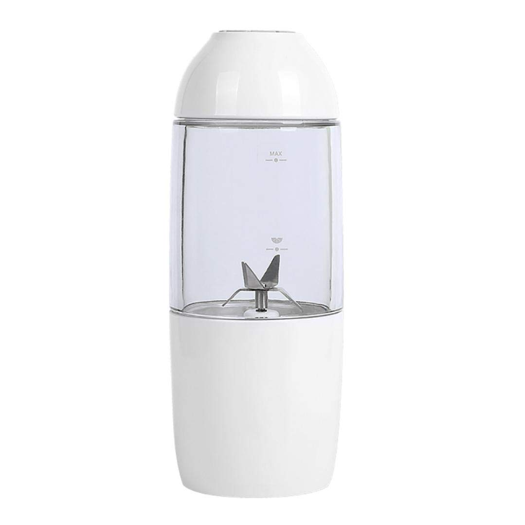 Portable Juicer Cup Clearance,380ml Rechargeable Juice Blender Magnetic Secure Switch Electric Fruit Mixer with USB Charger Cable for Superb Mixing, USB Juicer Cup (White)