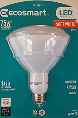 EcoSmart 75W Equivalent Soft White BR40 Dimmable LED Light Bulb