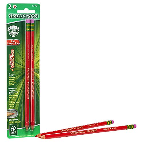 Ticonderoga Erasable Checking Pencils, Eraser Tipped, Pre-Sharpened, Red, 2-Pack ()
