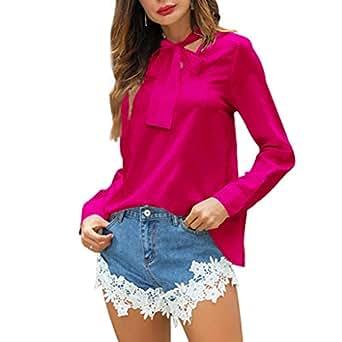 057b2296 Imagen no disponible. Imagen no disponible del. Color: Qingsiy Camisas Arco Manga  Larga para Mujer Tallas Grandes Moda Camiseta sólida Mujer chifón Blusas ...