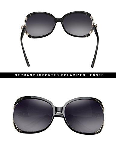 Polarisé Lunettes de Designer UV Surdimensionné VEGOOS Protection Noir Mode soleil Femmes Lunettes 1xYqFTOwW7