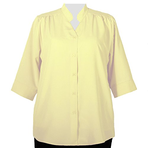 A Personal Touch Women's Plus Size Yellow 3/4 Sleeve V-Neck Tunic - 3X