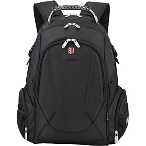 "Ruigor Swiss 9508 Water Resistant Polyester Laptop Backpack with Side Pocket Fit for 15.6"" Laptop and Notebook - Black"