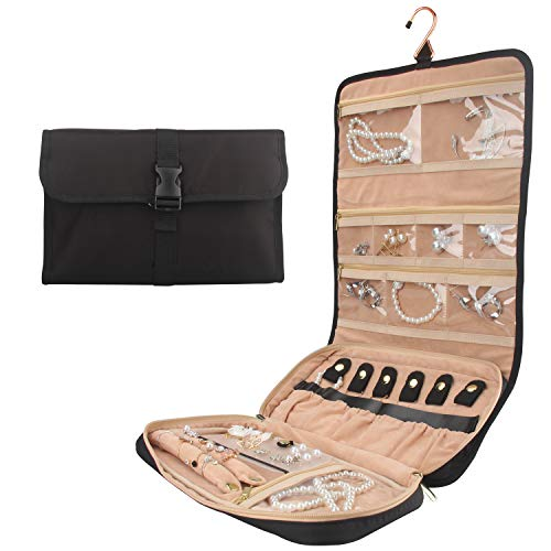 OCHEAL Travel Jewelry Organizer Roll with Zipper Pockets Hanging Jewellery Roll Bag Case for Rings, Earrings, Necklaces, Bracelets, Brooches, Waterpoof Bag with Separate -