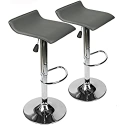 360 Degree Swivel Adjustable Bar Stool, Mordern Faux Leather Pub Chair, Set of 2, Grey