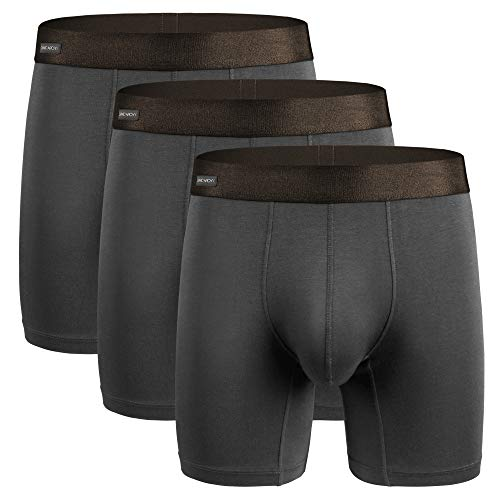 - David Archy Men's 3 Pack Underwear Ultra Soft Comfy Breathable Bamboo Rayon Basic Boxer Briefs No Fly (L, Dark Gray)