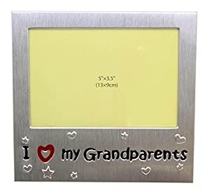 i love my grandparents photo picture frame gift will take a photo 5 x 35 inches 13 x 9 cm brushed aluminum satin silver color