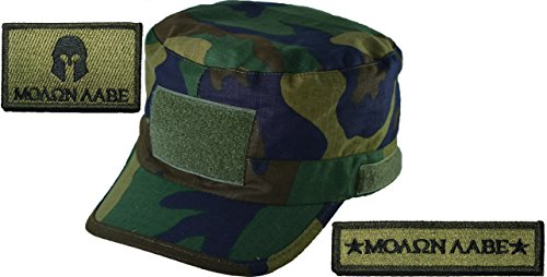 Woodland Camo Adjustable Fatigue Cap with Molon Labe Set Patch - Olive Drab (OD)