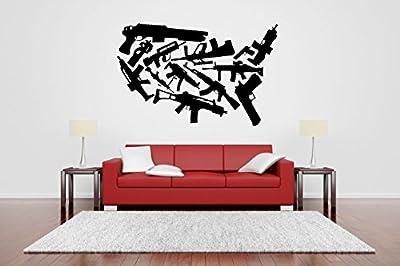 Wall Room Decor Art Vinyl Sticker Mural Decal Military Weapon Machine Gun Set Rack Poster Pistol Automatic Shotgun Rifle AS2651