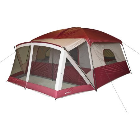 Ozark Trail 12-Person Cabin Tent with Screen Porch, Red b...
