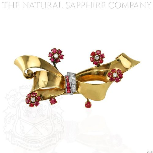 Retro 14K Yellow Gold Swirl Brooch with Flowers. (J4447) - Diamond Ruby Sapphire Brooch